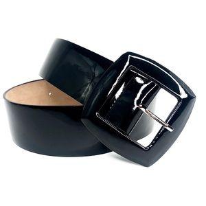 Ann Taylor Large Black Patent Leather Belt